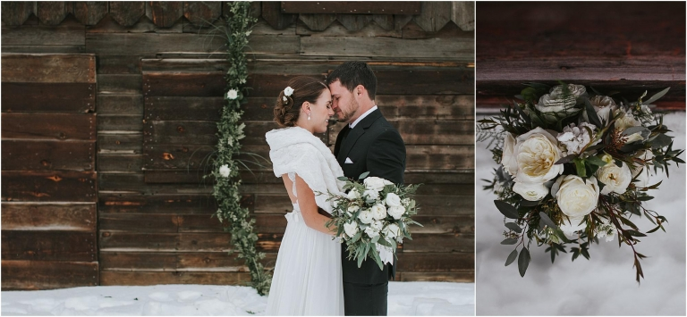 Outdoor Winter Wedding Photography: Red Barn Photography - A