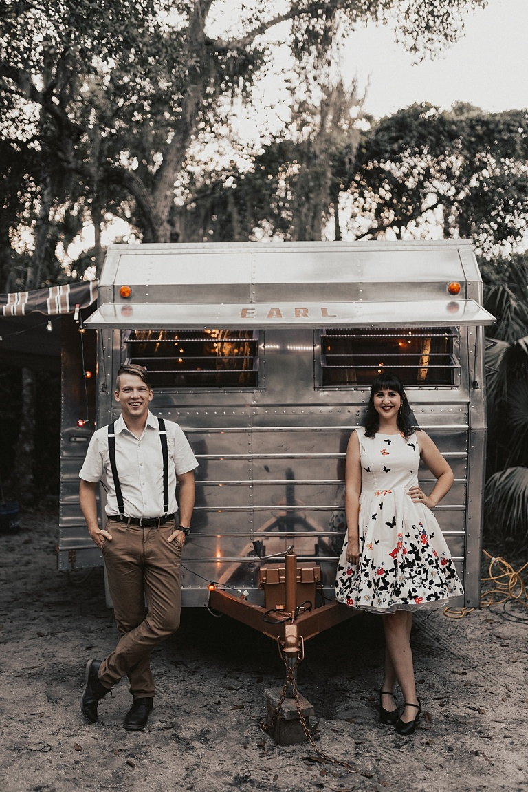 Vintage Inspired Engagement, rustic engagement photo outfits, Engagement Session with a vintage RV Trailer